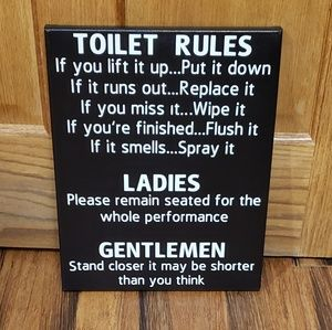 Bath - Toilet Rules Fun Bathroom Decor Sign